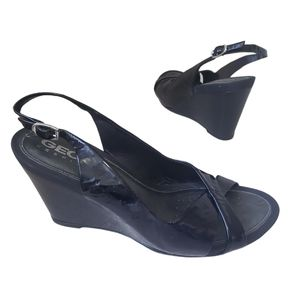 GEOX RESPIRA Black Patent Leather Wedges Size 39